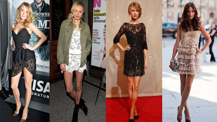 Celebrities Wearing Short Lace Dresses - StyleChi