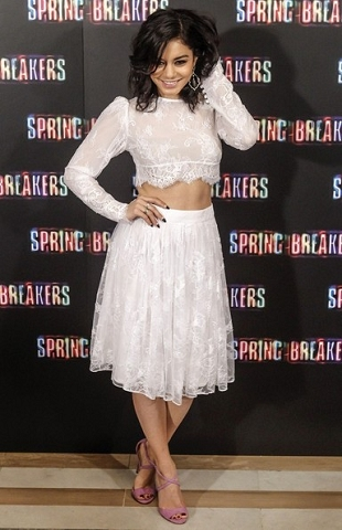 Vanessa Hudgens Lace Crop Top and Midi Puff Out Skirt StyleChi