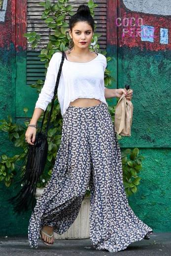 Vanessa Hudgens Crop Top Floral Trousers StyleChi
