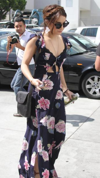 Vanessa Hudgens Floral Cut-Out Slit Maxi Dress StyleChi