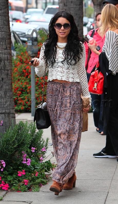 Vanessa Hudgens Crochet Top Maxi Skirt StyleChi
