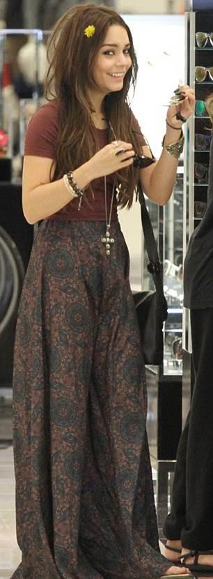 Vanessa Hudgens Vintage Floral Maxi Skirt StyleChi