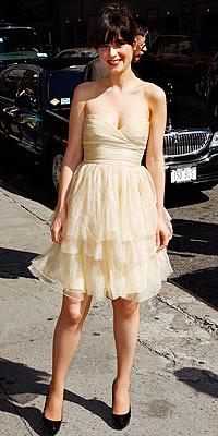 Zooey Deschanel Cream Bandeau Ruffles Prom Dress StyleChi