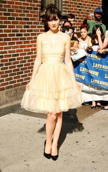 Zooey Deschanel StyleChi Cream Strapless Dress