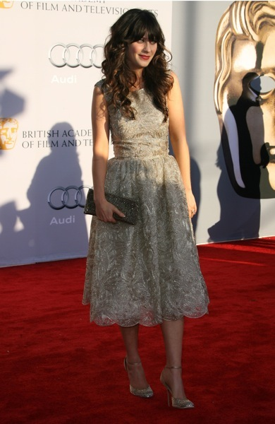 Zooey Deschanel At The BAFTAs Red Carpet Ready StyleChi