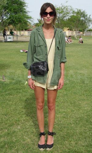 Alexa Chung Army Green Jacket Yellow Playsuit Espadrilles StyleChi
