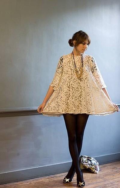 Alexa Chung Floral Lace Dress Star Peep Toe Heels StyleChi
