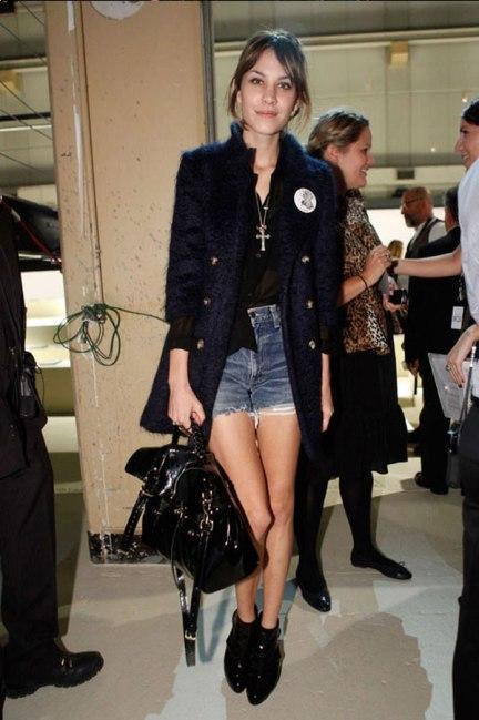 Alexa Chung Navy Blue Coat StyleChi