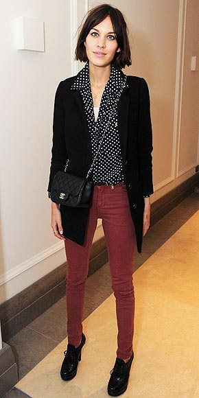 Alexa Chung Polka Dot SHirt Quilted Chanel Rust Trousers StyleChi