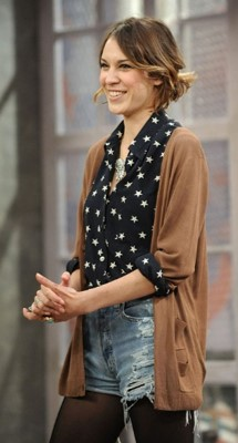 Alexa Chung Star Blouse Cardi Ripped Shorts StyleChi