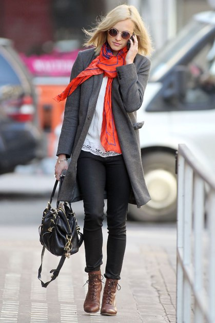 Fearne Cotton Brown Lace Up Boots Grey Coat StyleChi