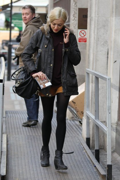Fearne Cotton Brown Mini Shorts Black Ankle Boots StyleChi