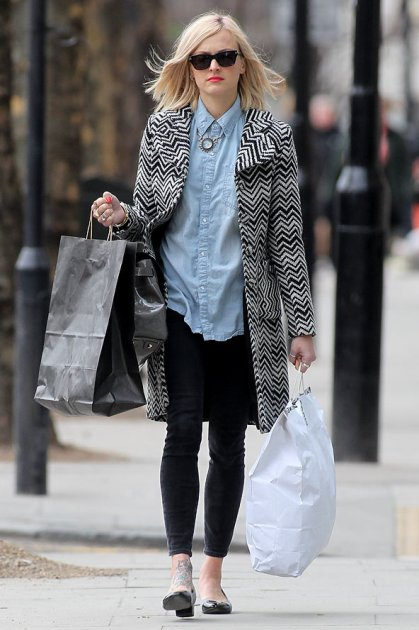 Fearne Cotton Graphic Print Coat Denim Shirt Black Jeans StyleChi