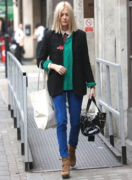 Fearne Cotton Green Jumper Blue Jeans StyleChi