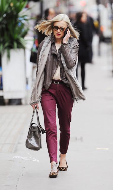 Fearne Cotton Leopard Print Flats Burgundy Trousers StyleChi