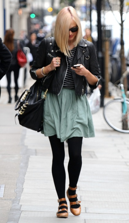 Fearne Cotton Strappy Ballerinas Biker Jacket StyleChi