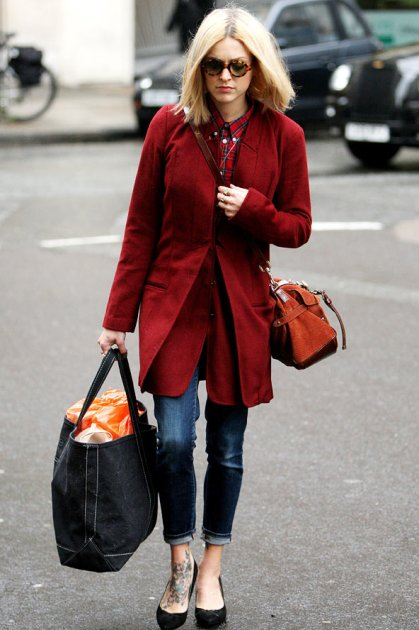 Fearne Cotton Tartan Shirt Red Coat StyleChi