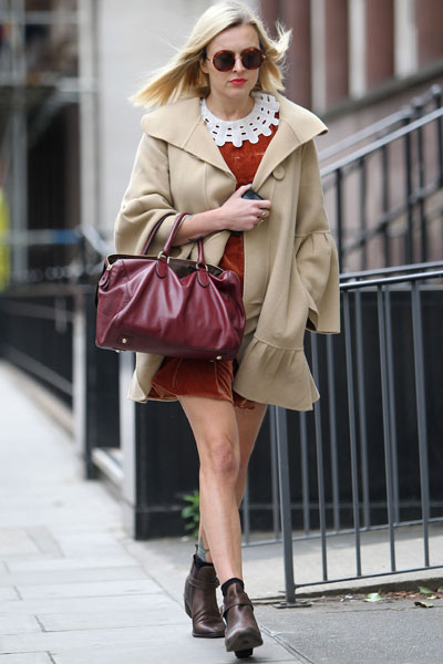 Fearne Cotton Vintage Velvet Dress Beige Coat Brown Boots StyleChi