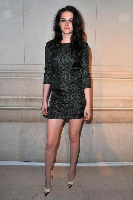 Kristen Stewart Grey Leopard Dress StyleChi