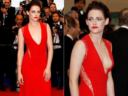 Kristen Stewart Lace Red Dress StyleChi