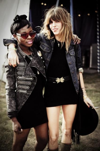 Lou Doillon Mini Dress Boots Denim Jacket Fringe Bag StyleChi