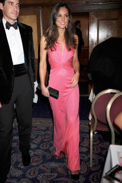 Catherine Middleton Bright Pink Evening Dress StyleChi