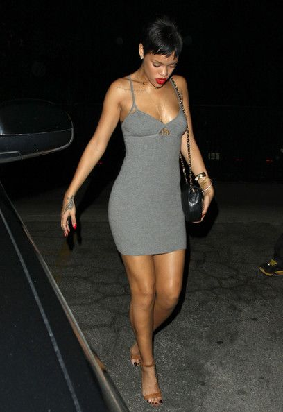 Grey Strappy Dress Rihanna StyleChi