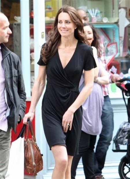 Kate Middleton Black Wrap Around Dress StyleChi