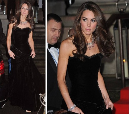 Kate Middleton Duchess of Cambridge Alexander McQueen Black Velvet Dress StyleChi