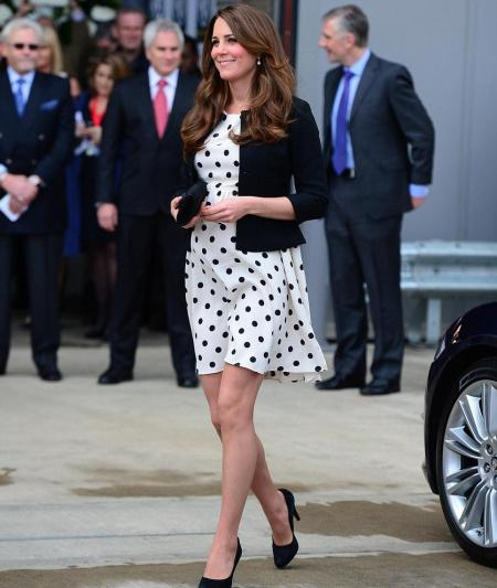 Kate Middleton Fashion Style Clothes Baby-bump Polka-dot Maternity Dress