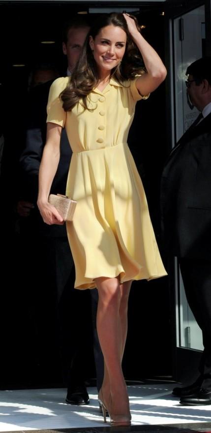 Kate Middleton Jenny Packham Yellow Dress StyleChi