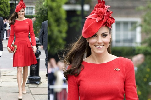 Kate Middleton Long Sleeved Red Dress Hat StyleChi