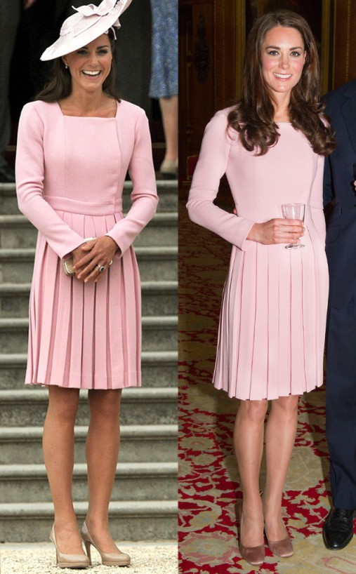 Kate Middleton Pink Pleated Dress StyleChi