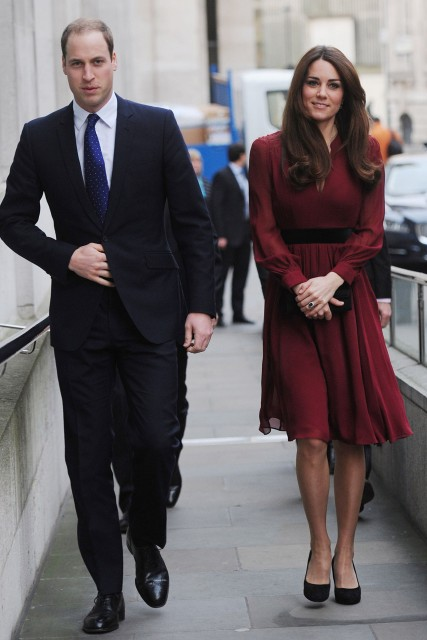 Kate Middleton Prince William Burgundy Dress StyleChi