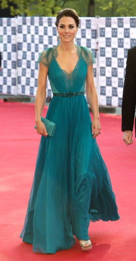 Kate Middleton Teal Evening Dress StyleChi