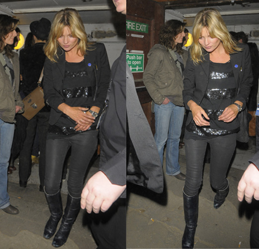 Kate Moss All Black Leather Boots StyleChi