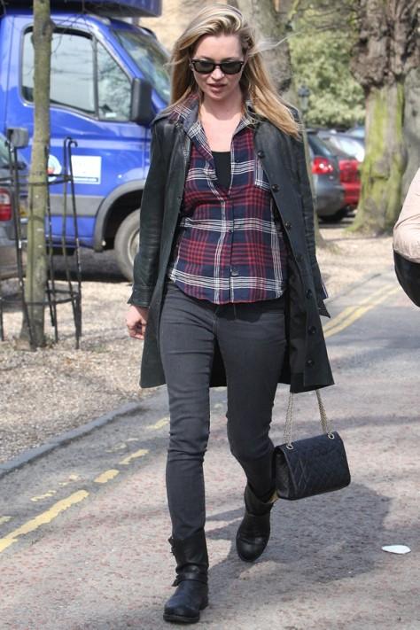 Kate Moss Biker Boots Check Shirt StyleChi