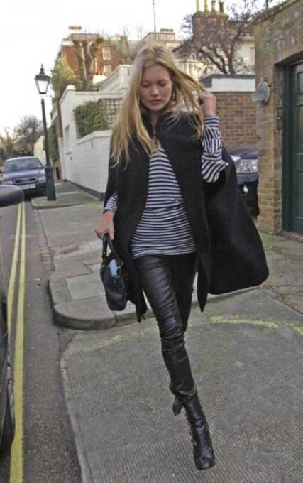 kate-moss Cape Leather Trousers Stripey Top StyleChi