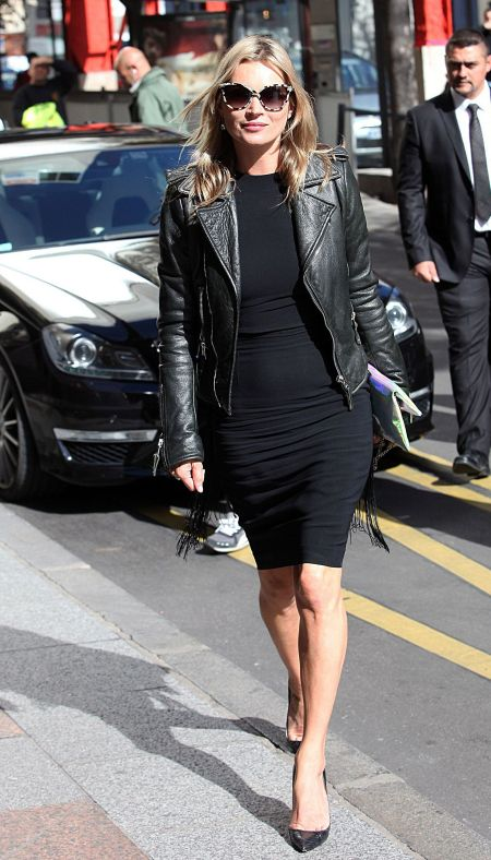 kate-moss-fashion-week lbd leather jacket StyleChi