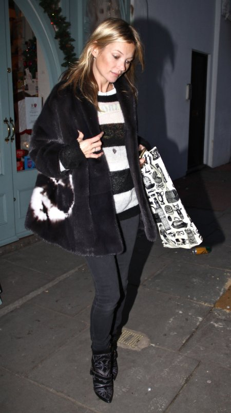Kate Moss Fur Jacket Stripey Top StyleChi