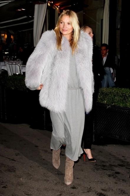 Kate Moss Grey Fur and Dress StyleChi