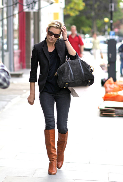 Kate Moss Knee High Brown Boots StyleChi