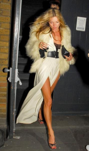 Kate Moss Split Belted Dress Cream Fur StyleChi