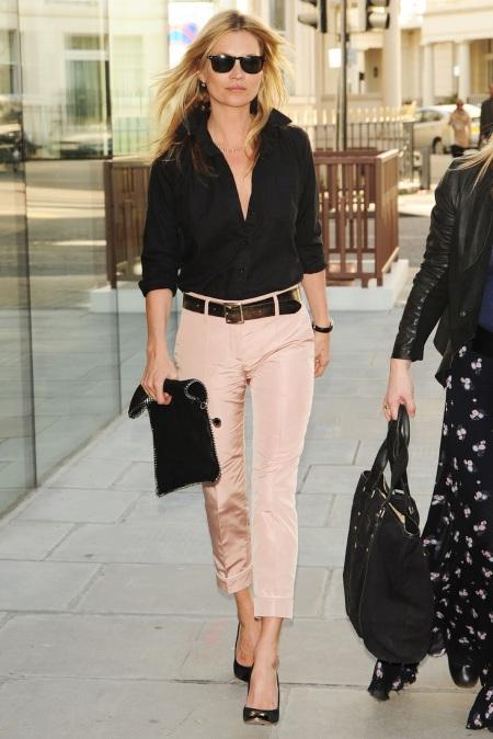 Kate+Moss+Pink Chloe Trousers Black Shirt StyleChi