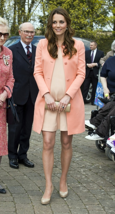 Pregnant Kate Middleton Peach Coat StyleChi