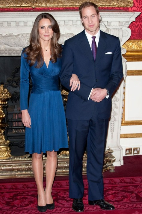 Prince William Kate Middleton Blue V-Neck Dress  StyleChi