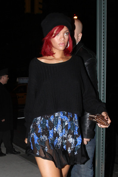 Rihanna Black Knitted Jumper StyleChi