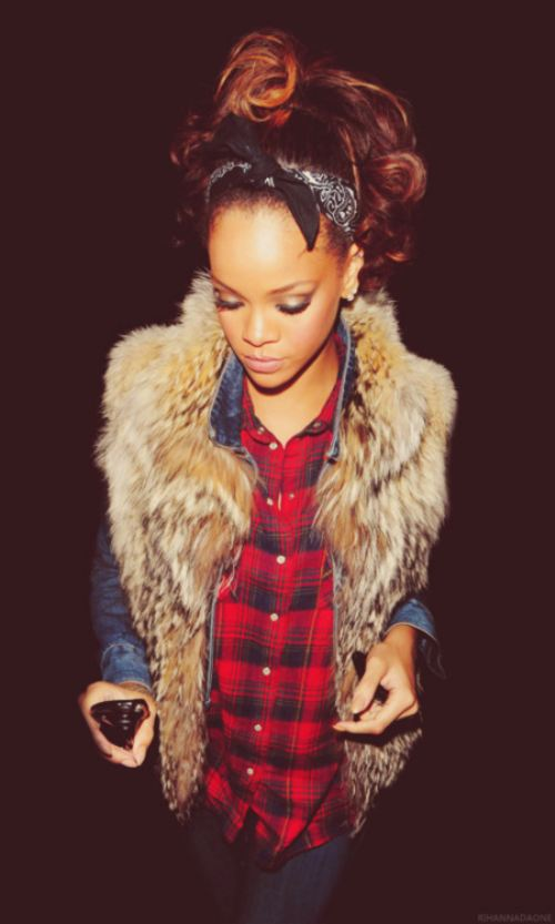 RIhanna Denim Jacket Plaid Shirt