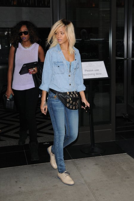 Rihanna Double Denim Derby Shoes Blonde StyleChi