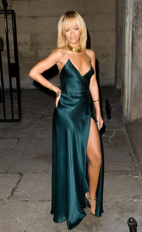 Rihanna Green Split Dress StyleChi